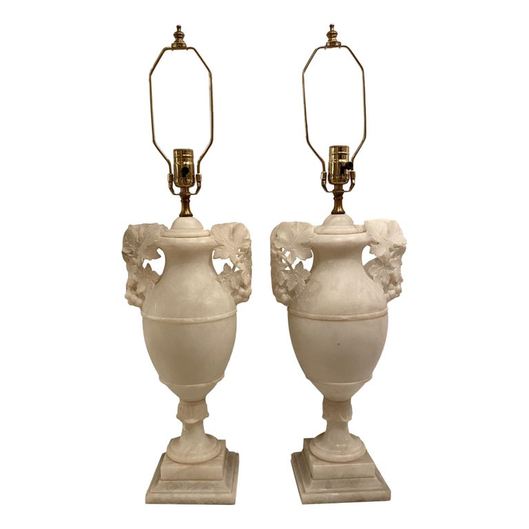 Large Pair of Alabaster Table Lamps For Sale