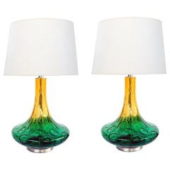 Large Pair of American 1970s Yellow and Green Art Glass Lamps