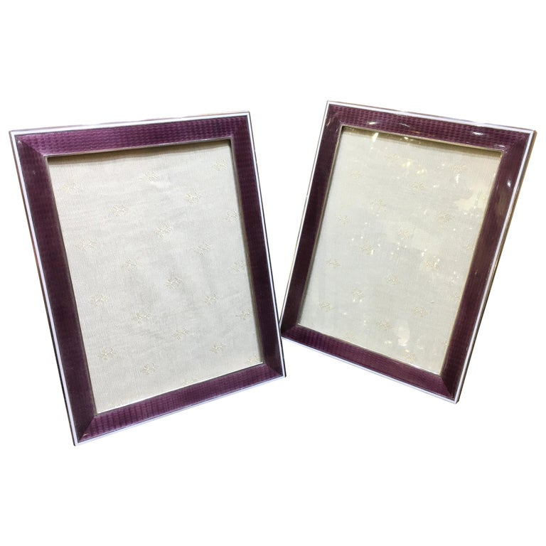 Large Pair Of American Art Deco Silver And Enamel Photograph Frames