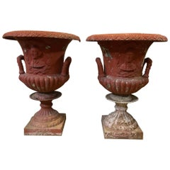 Large Pair of American Garden Cast Iron Urns with a Plaque of George Washington