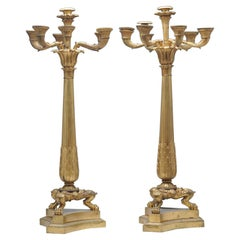 Large Pair of Antique Charles X Style French Bronze Candelabra