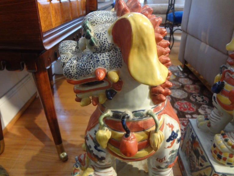 Large Pair of Antique Chinese Porcelain Foo Dogs For Sale 8