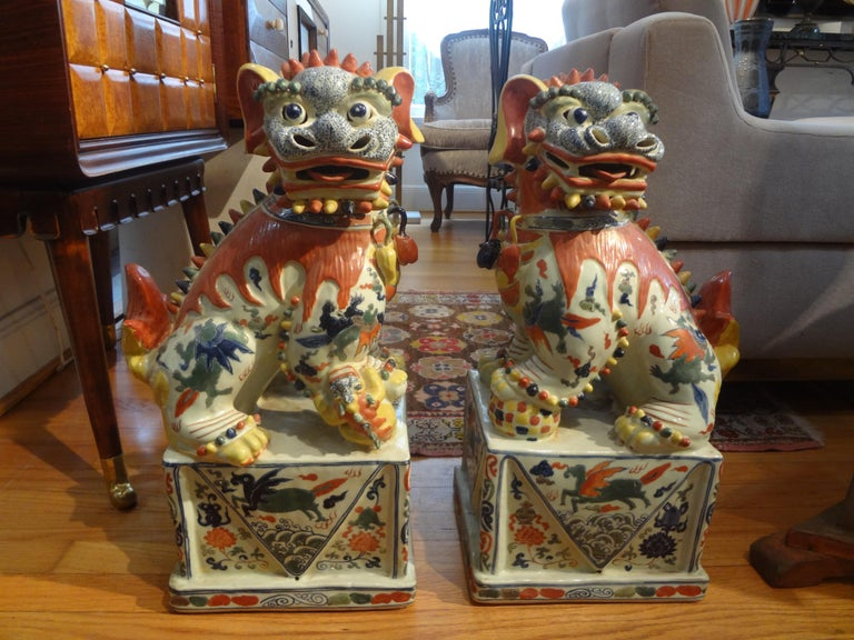 Large Pair of Antique Chinese Porcelain Foo Dogs For Sale 10