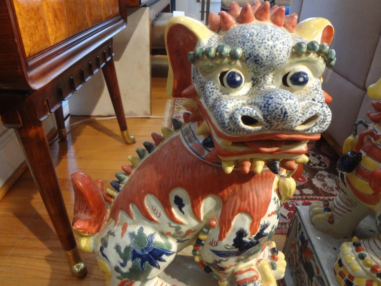 Chinese Export Large Pair of Antique Chinese Porcelain Foo Dogs For Sale