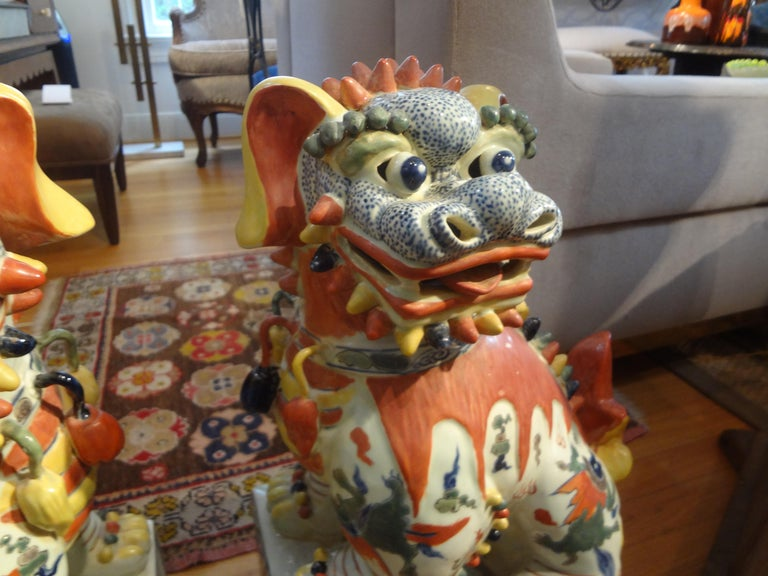 Large Pair of Antique Chinese Porcelain Foo Dogs For Sale 1