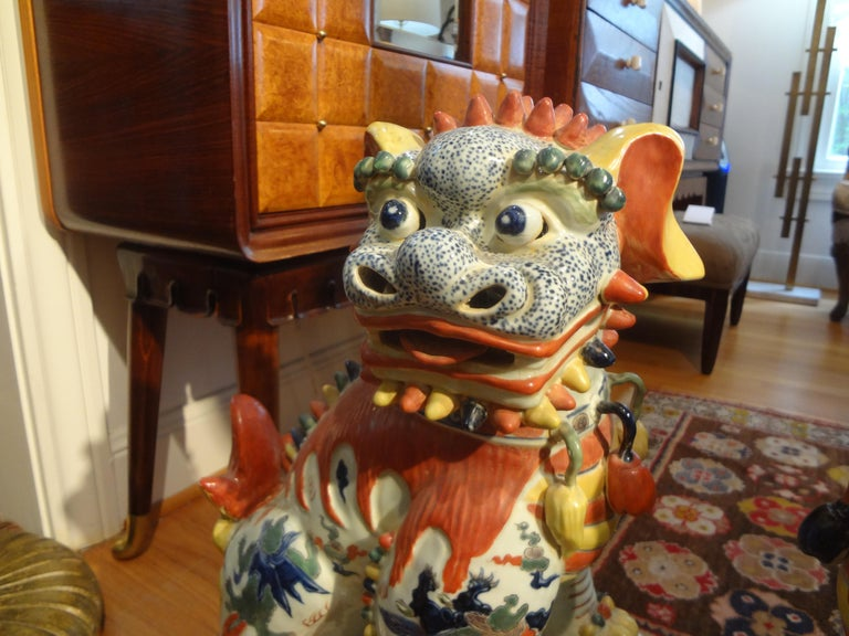 Large Pair of Antique Chinese Porcelain Foo Dogs For Sale 2