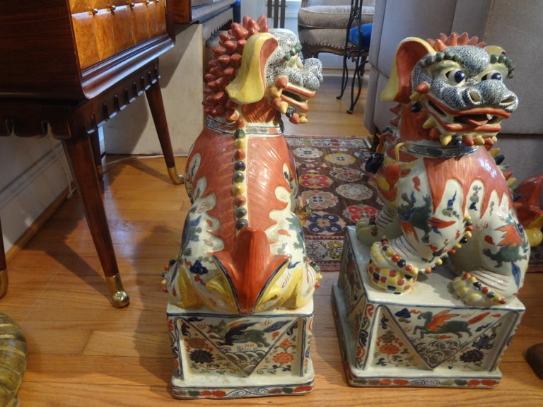Large Pair of Antique Chinese Porcelain Foo Dogs For Sale 3