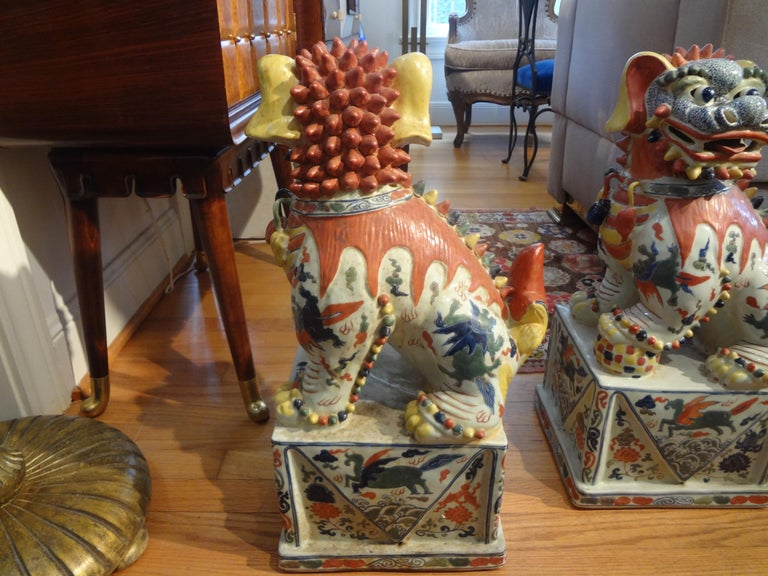Large Pair of Antique Chinese Porcelain Foo Dogs For Sale 4
