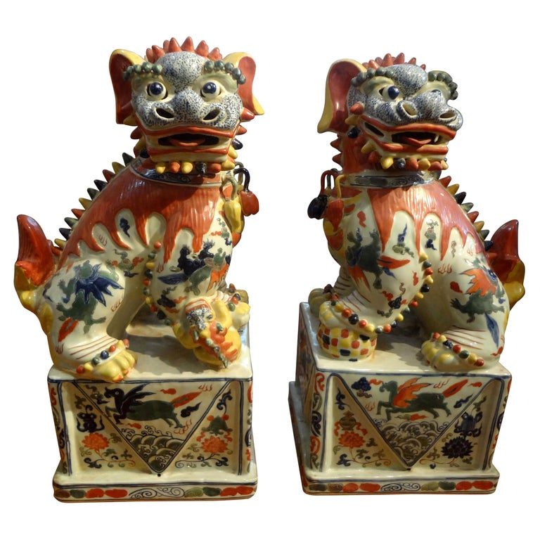 Large Pair of Antique Chinese Porcelain Foo Dogs For Sale