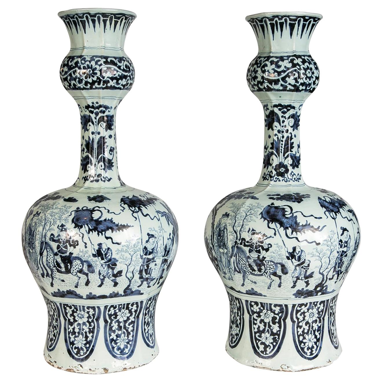 Large Pair of Antique Delft Blue and White Vases Made circa 1700-1720