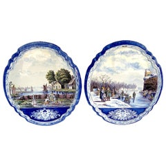 Large Pair of Antique Delft Topographical Wall Plaques