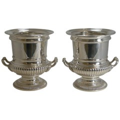 Large Pair of Antique English Silver Plated Wine / Champagne Coolers, circa 1910