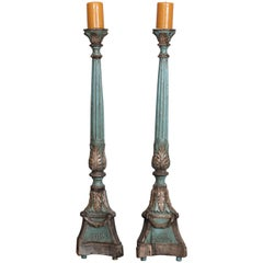Large Pair of Antique Italian Painted and Gilt Altarsticks
