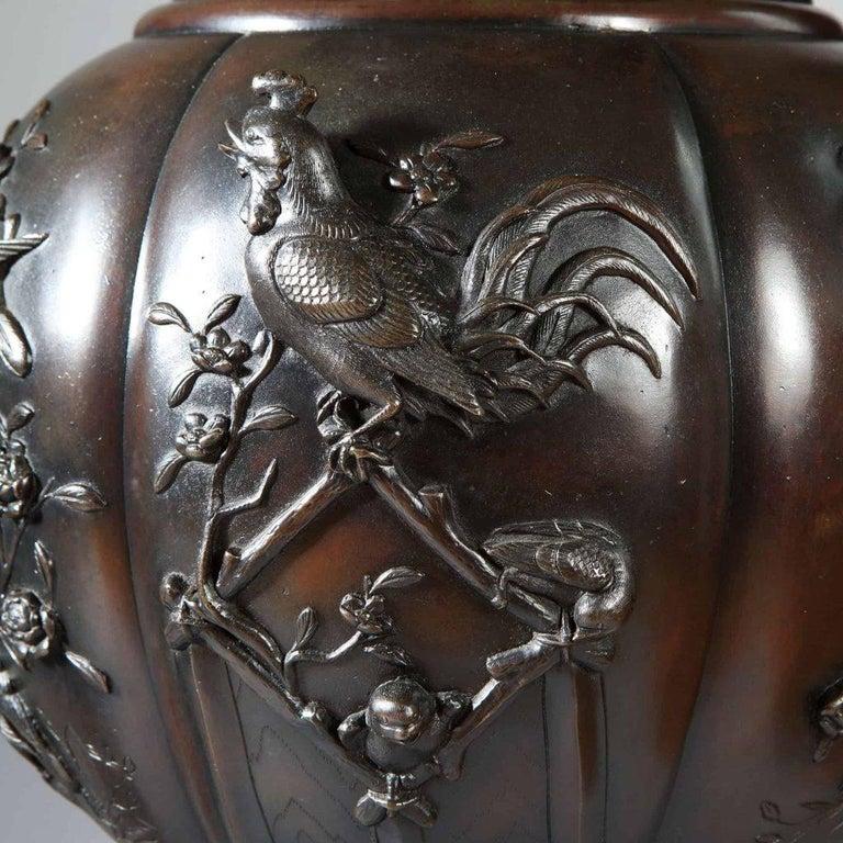 Metalwork Large Pair of Antique Japanese Meiji Bronze Vases For Sale