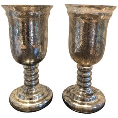 Large Pair of Antique Mercury Glass Hurricanes