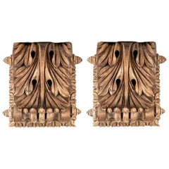 Large Pair of Antique Neoclassical Style Carved Pine Brackets