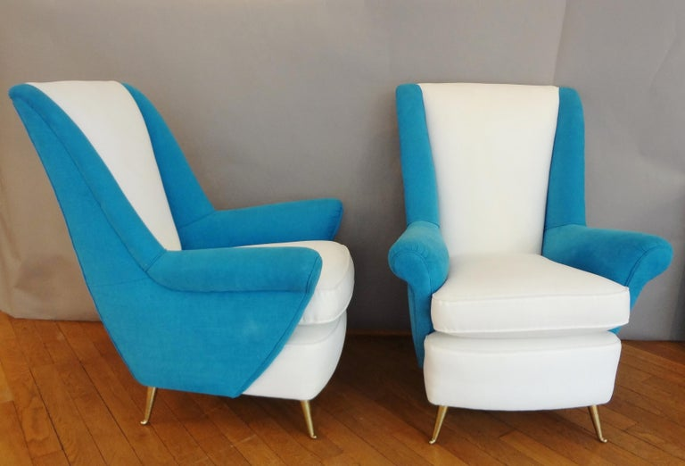 Italian Large Pair of armchairs by ISA, Italy, 1950s For Sale