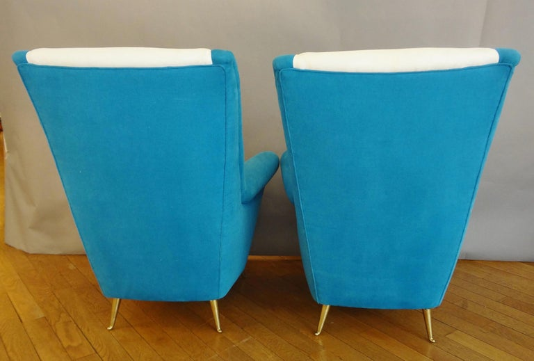 Gilt Large Pair of armchairs by ISA, Italy, 1950s For Sale