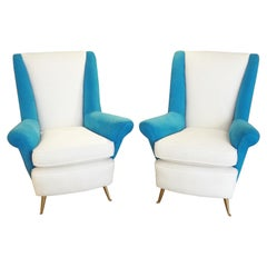 Large Pair of armchairs by ISA, Italy, 1950s