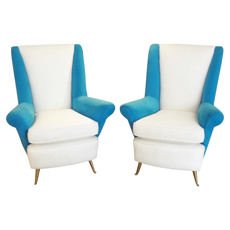 Large Pair of armchairs by ISA, Italy, 1950s For Sale