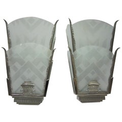 Large Pair of Art Deco Glass and Nickeled Iron Sconces