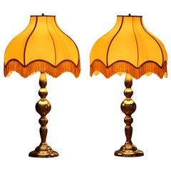 Large Pair of Art Nouveau / Hollywood Regency Brass Table Lamps, Rejmyre, Sweden