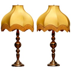 Large Pair of Art Nouveau or Hollywood Regency Brass Table Lamps Rejmyre, Sweden