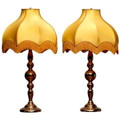 Large Pair of Art Nouveau or Hollywood Regency Brass Table Lamps Rejmyre, Sweden
