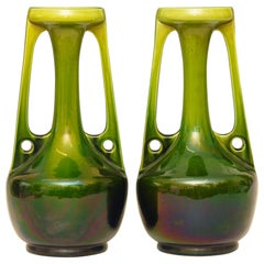 Large Pair of Art Nouveau Vases by Bretby of England, circa 1910