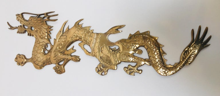 Large Pair of Asian Cast Brass Dragons Chasing a Ball Wall Mount For Sale 5