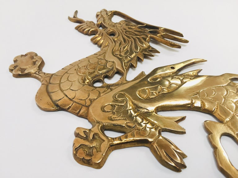Large Pair of Asian Cast Brass Dragons Chasing a Ball Wall Mount For Sale 6