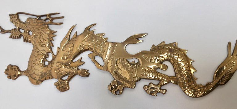 Large Pair of Asian Cast Brass Dragons Chasing a Ball Wall Mount For Sale 7