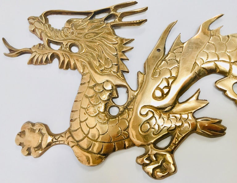 Large Pair of Asian Cast Brass Dragons Chasing a Ball Wall Mount For Sale 8