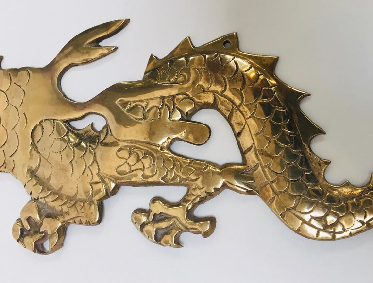 Large Pair of Asian Cast Brass Dragons Chasing a Ball Wall Mount For Sale 9