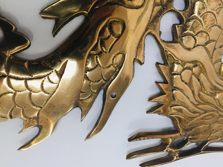 Large Pair of Asian Cast Brass Dragons Chasing a Ball Wall Mount For Sale 10