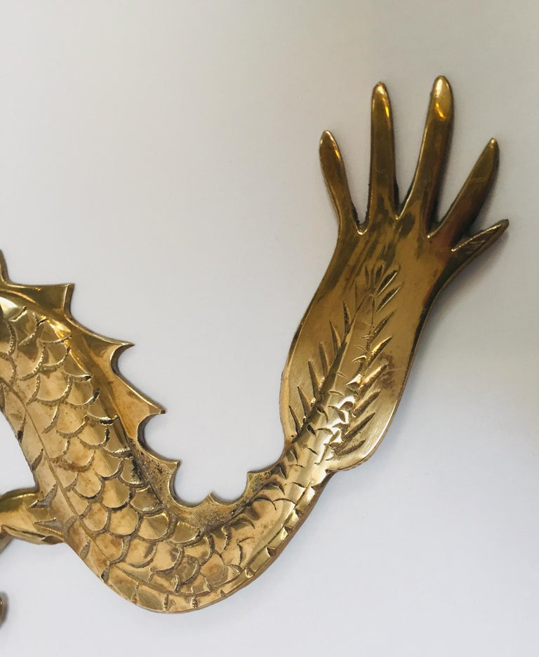 Large Pair of Asian Cast Brass Dragons Chasing a Ball Wall Mount For Sale 11