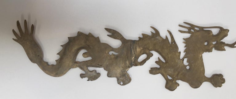Large Pair of Asian Cast Brass Dragons Chasing a Ball Wall Mount For Sale 13