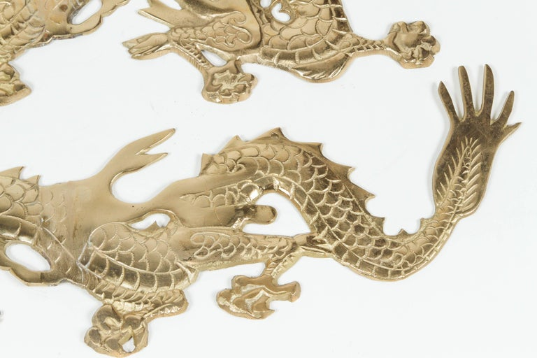 Large Pair of Asian Cast Brass Dragons Chasing a Ball Wall Mount For Sale 2