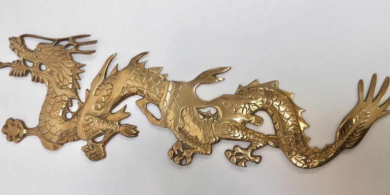Large Pair of Asian Cast Brass Dragons Chasing a Ball Wall Mount For Sale 3