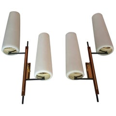 Large Pair of Asymmetrical Double Mid-Century Modern Sconces, France, 1950