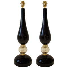 Large Pair of Black and Gold Murano Glass Lamps, Italy, Signed