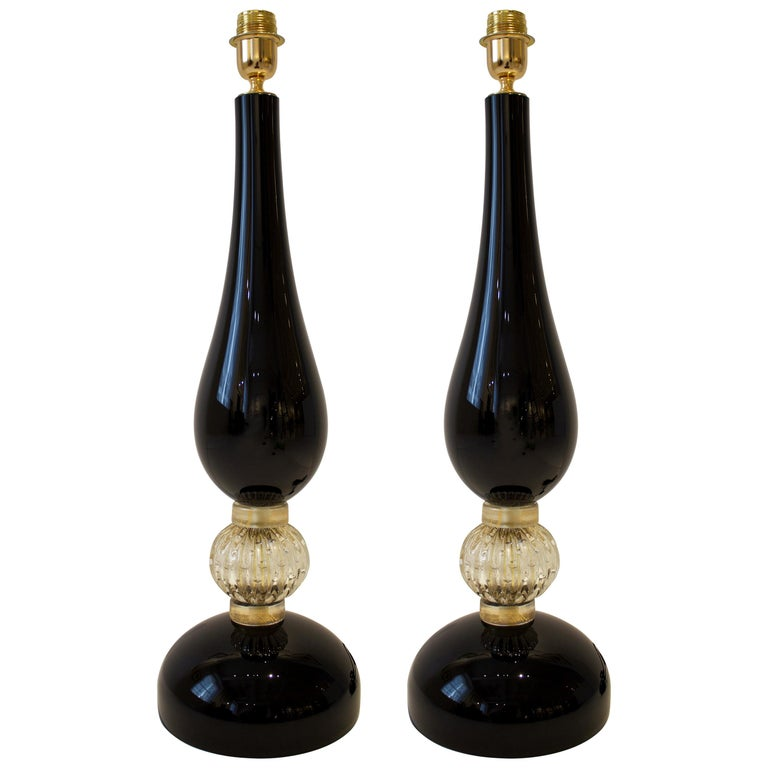 Large Pair of Black and Gold Murano Glass Lamps, Italy, Signed For Sale