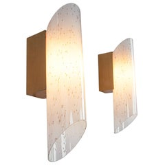 Large Pair of Blown Glass Wall Lights by Peill & Putzler, Germany, 1970s