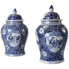 Large Pair of Blue and White Baluster Vases and Covers