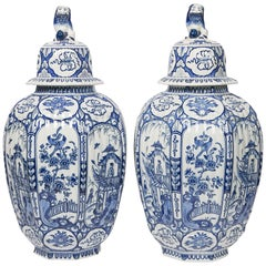 Large Pair of Blue and White Delft Vases Antique Made, 20th Century