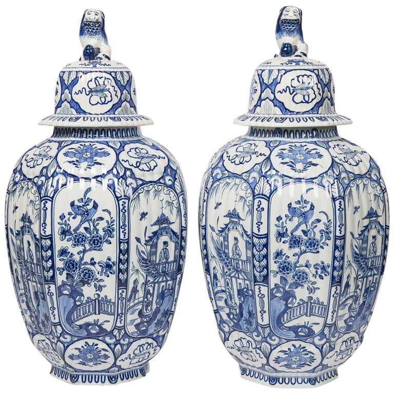 Large Pair of Blue and White Delft Vases Antique Made, 20th Century For Sale
