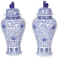 Large Pair of Blue and White Porcelain Palace Urns