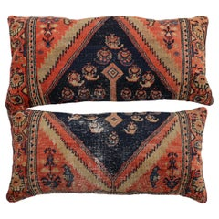 Large Pair of Blue Tribal Persian Wool 20th Century Rug Pillows