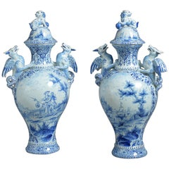 Large Pair of Blue & White Delft Pottery Vases and Covers