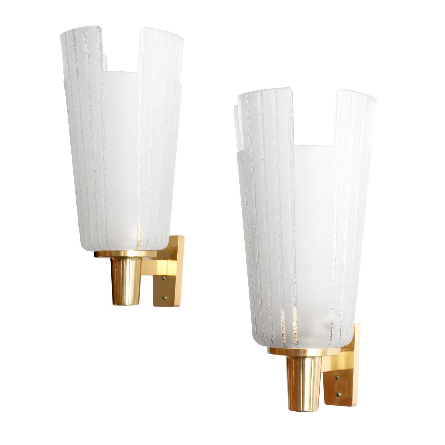 Böhlmarks, Scandinavian Modern Etched Glass and Brass Sconces Swedish Art Deco